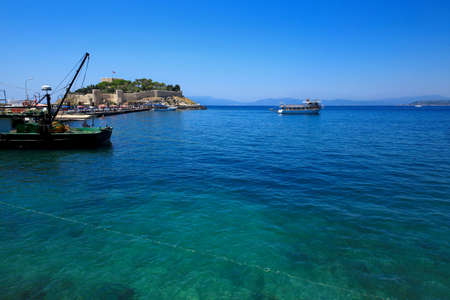 The harbour of Kusadasi, Turkey. Pigeon Island in the background.Kusadasi, Turkey. July 28.2019