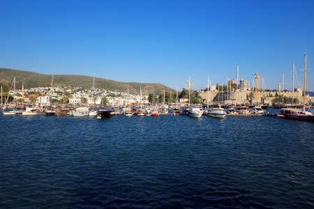 Bodrum Castle from Bodrum Marina.Bodrum, Izmir/ Turkey. July 22.2019