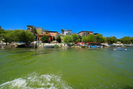 Bursa, Golyazı is a Turkish town founded on a small peninsula on Lake Uluabat.Golyazi from Lake Uluabat.Golyazi, Bursa/ Turkey. August 06.2019