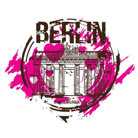 Brandenburg gate, Berlin / Germany city design with love hearts. Hand drawn illustration. Illustration