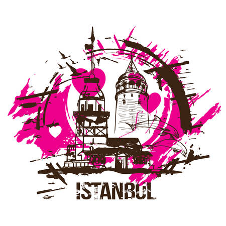 The Maiden's Tower (Kiz Kulesi) and Galata Tower. Istanbul, Turkey city design. Hand drawn illustration. Illustration
