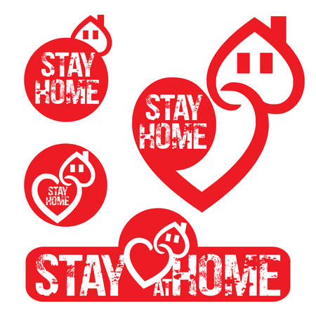 Stay at home slogan with house and heart inside.