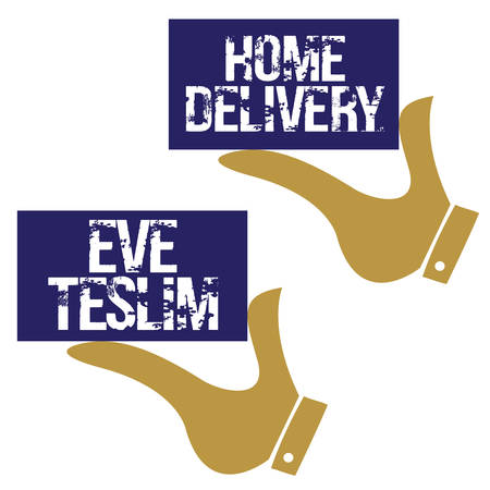 (Eve Teslim)Home delivery, icon design needs. Vector illustration.