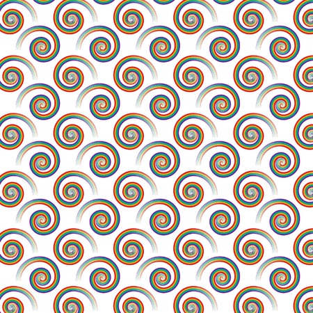 repeated: Seamless repeated rainbow color spiral pattern Illustration