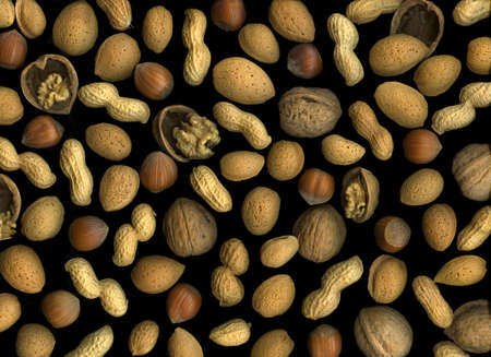 Mixed nuts isolated on black background Stock Photo