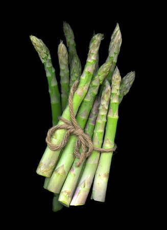 Bunch of Asparagus islated on black background