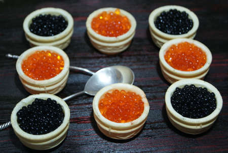 Black and red caviar for guests and friends. Reklamní fotografie