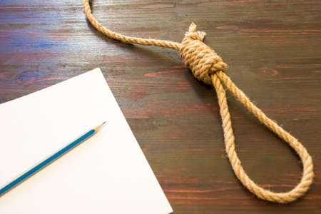 The deadly loop of rope. Last seconds of life. Unrequited love. Stock Photo