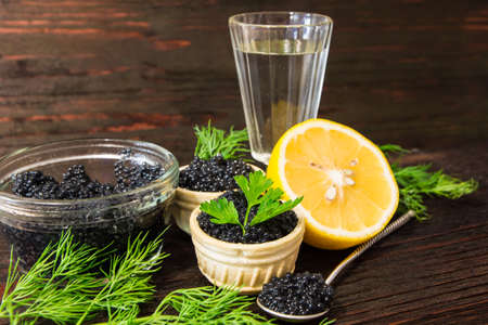 Fresh caviar for snacks and alcohol. Russian appetizer.