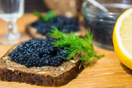 sturgeon: Fresh caviar for snacks and alcohol. Russian appetizer.