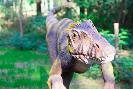 Carnivorous dinosaur with yellow eyes is preparing to pounce on its prey. Opinion on behalf of the victim.