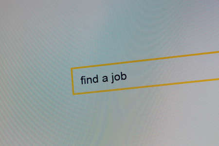 Photograph of a computer monitor where a person is looking for work