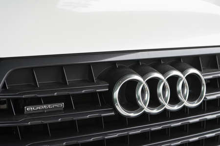 Belgorod, Russia - December 13, 2017: the radiator Grille of the Audi Q7. Close-up photo of the grille of the car company Audi. Editorial