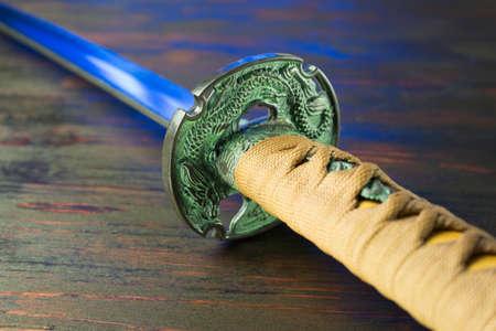 Schwert der Samurai. Mittelalterliche japanische Waffen.