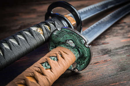 Sword of the samurai. Medieval Japanese weapons. Sword of the samurai. Medieval Japanese weapons. Stockfoto