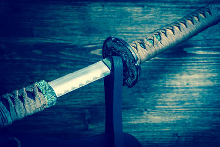 Sword of the samurai. Medieval Japanese weapons. Sword of the samurai. Medieval Japanese weapons. Stock Photo