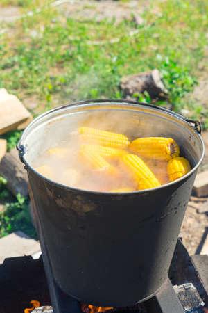 Boil corn in boiling water on a fire.