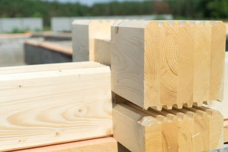 Construction of a wooden house of laminated veneer lumber. Stock Photo