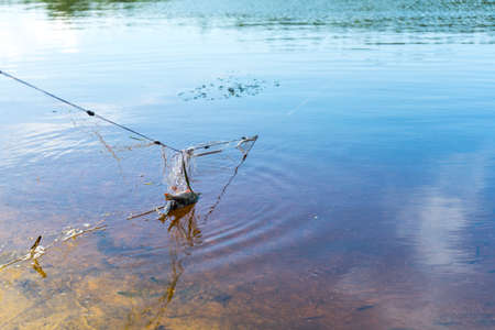 Fishing net. Poaching. Place for your text. Stock Photo