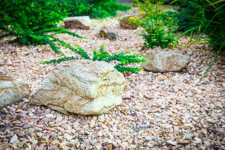 landscape design. Place for your text. Design solution with large stones. landscape design. Place for your text. Design solution with large stones. Banco de Imagens