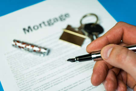 The contract for a mortgage loan. The keys of the property. The contract for a mortgage loan. The keys of the property.