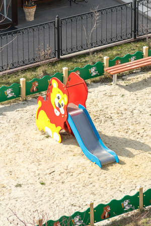 Childrens slide in a playground Banco de Imagens
