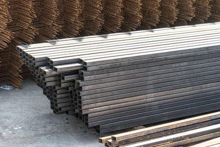 Metal square pipe. Sale of metal pipe. Metal square pipe. Sale of metal pipe. Banco de Imagens - 125355702