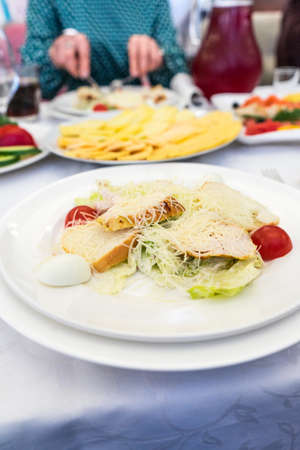 Photo of the Caesar salad. classic recipe. Banco de Imagens