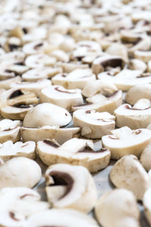Sliced mushrooms laid out to dry. Close-up photo.