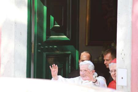 apostolic: Pope Benedict XVI Greeting Crowd at Apostolic Nunciature,Lisbon,Portugal,11052010 Editorial