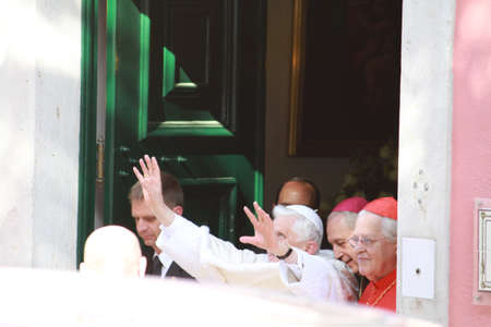 apostolic: LISBON - MAY 11:  Pope Benedict XVI leaving Apostolic Nunciature  May 11, 2010 in Lisbon,Portugal
