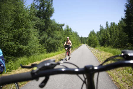 bycicle: Bycicle route in Quebec, Canada Stock Photo