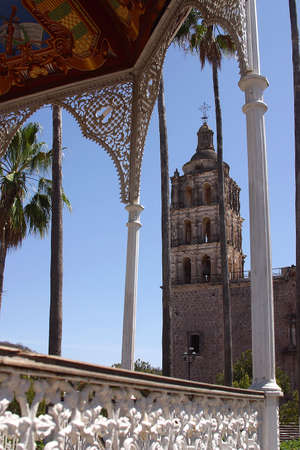 sonora: partial view of the kiosko in the town of Alamos in the northern state of Sonora, in Mexico, Latin America Stock Photo