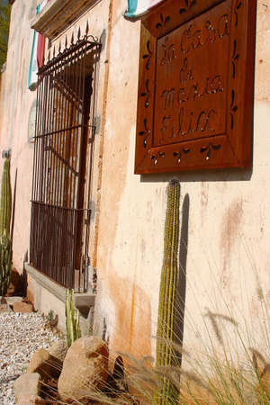 felix: detail of the wall of  colonial house of the famous mexican actress Maria Felix in the town of Alamos in the northern state of Sonora, Mexico, Latin America