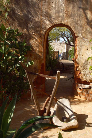 sonora: detail of the inner patio and garden of a colonial house in the town of Alamos in the northern state of Sonora, Mexico, Latin America