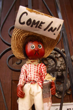 sonora: mexican puppet inviting to come into a house in the town of Alamos in the northern state of Sonora, Mexico, Latin America Stock Photo