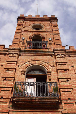 sonora: brick building in the centre of the town of Alamos in the northern state of Sonora, Mexico, Latin America Stock Photo