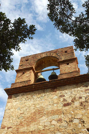 sonora: tower with bells from a chapel in the town of Alamos, in the northern state of Sonora, Mexico, Latin America Stock Photo