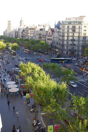 catalunya: aerial view of Passeig de Gracia  at the city of Barcelona, Catalunya, Spain, Europe Stock Photo