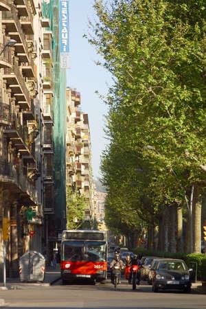 catalunya: metropolitan bus at the street of the city of Barcelona, Catalunya, Spain, Europe Stock Photo