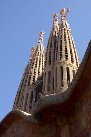 detail of the towers of la Sagrada Familia at the city of Barcelona, Catalunya, Spain, Europe