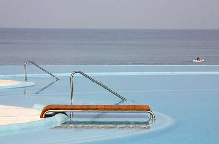 jalisco: partial view of the pools of a hotel next to the ocean in Puerto Vallarta, Jalisco, Mexico, Latin America Stock Photo
