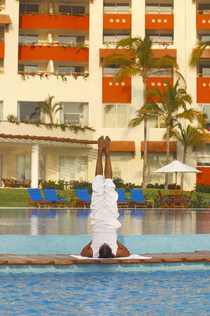 jalisco: partial view of a hotel with Yoga teacher in Puerto Vallarta, Jalisco, Mexico, Latin America