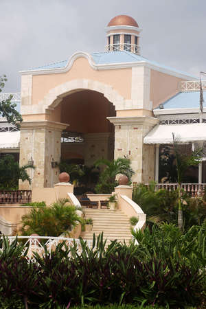 riviera maya: entrance of a hotel with hacienda like details in Cancun, Riviera Maya, Quintana Roo, Mexico, Latin America