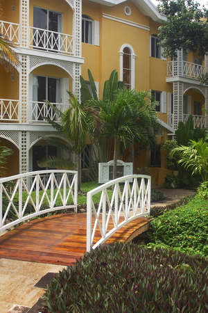 riviera maya: bridge leadin to the rooms of a hotel with hacienda like details in Cancun, Riviera Maya, Quintana Roo, Mexico, Latin America Stock Photo