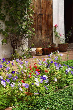 flowers and a wooden door in an inner patio of a colonial house