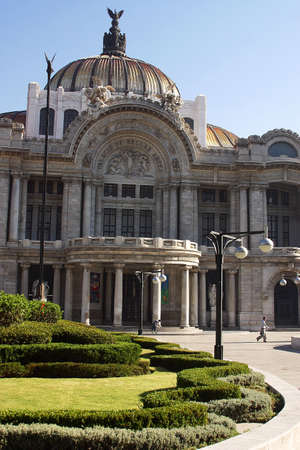 front view of the marble construction of the Palace of Fine Arts with partial view of the gardens and fountains in front, down town Mexico city, Mexico Latin America Stock Photo - 853064