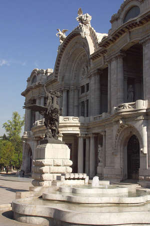 front view of the marble construction of the Palace of Fine Arts with partial view of the gardens and fountains in front, down town Mexico city, Mexico Latin America Stock Photo - 853068