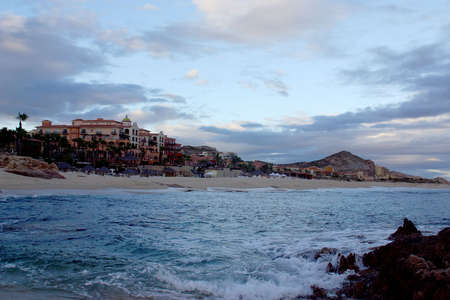 general view of the beach with hotels at Los Cabos, Baja California, Mexico, Latin America