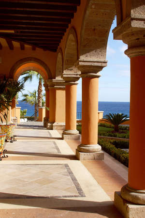 archway: view of the archway down to the beach at a hotel of Los Cabos, Baja California, Mexico, Latin America Stock Photo